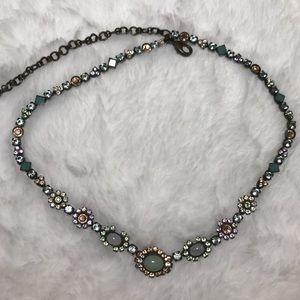 SORRELLI pastel floral pendant necklace blue green